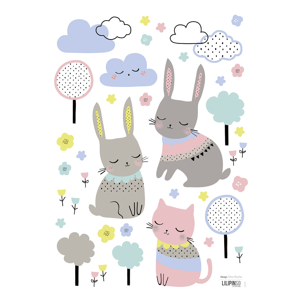 Bunnies & Clouds Muursticker A3 Happy Clouds Lilipinso Muursticker Lili-S1005