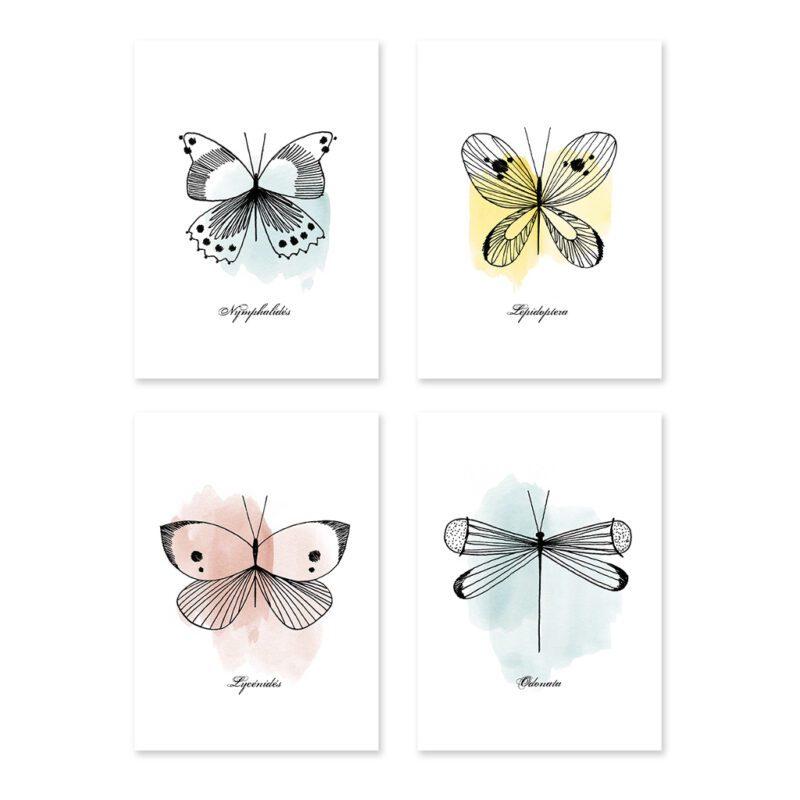 Butterflies Ansichtkaart Set Meadow Treasure Lilipinso 4 Kaarten Lili-P0218
