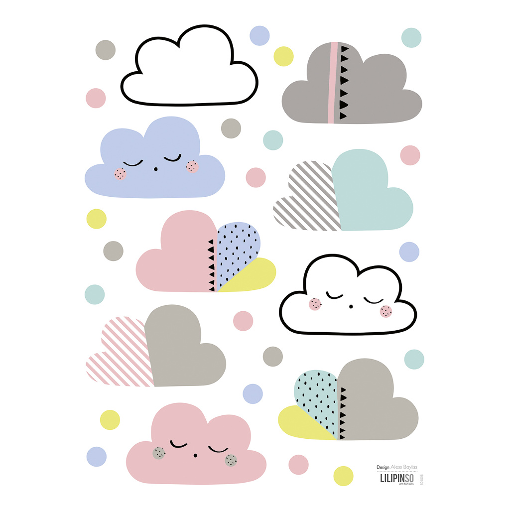 Clouds & Dots Sticker 18X24Cm Happy Clouds Lilipinso Vrolijk Pastel Kleur Lili-S1008