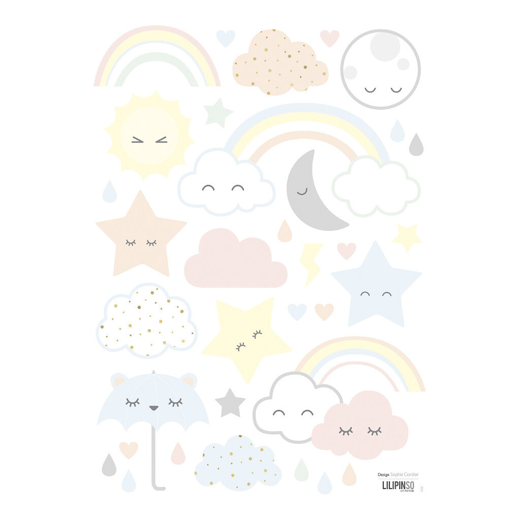 Clouds Stars Rainbows Muursticker A3 | Hello Little | Lilipinso