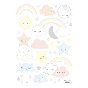 Clouds Stars Rainbows Muursticker A3 | Hello Little | Lilipinso