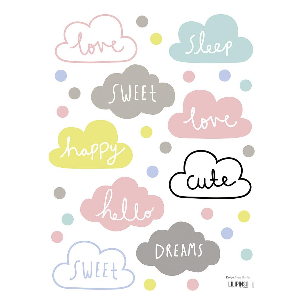 Clouds Sticker 18X24Cm Happy Clouds Lilipinso Pastel Lieve Woordjes Wolk Wolken Wolkjes Lili-S1009