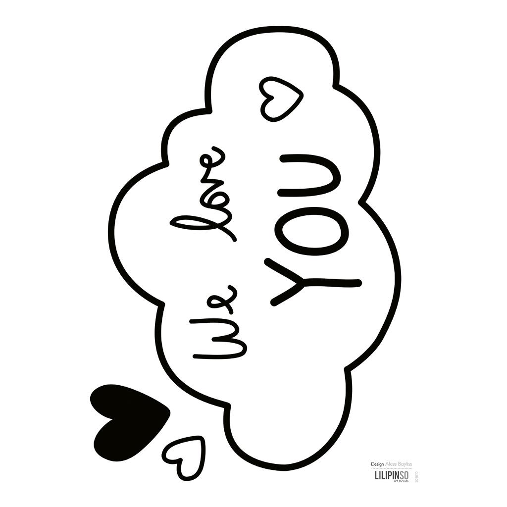 Clouds We Love You Sticker 18X24Cm Wonderful Words Lilipinso Wij Houden Van Jou Lili-S1010