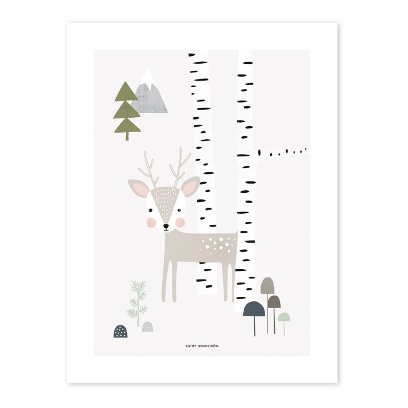 Fawn Poster Into The Woods Lilipinso Hert In Woud Neutraal QIDDIE.com lili-p0206-zl