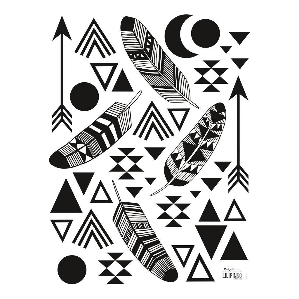 Feathers & Geometric Patterns Sticker 18X24Cm Origami Play Lilipinso Veren Pijlen Indiaan Lili-S1045