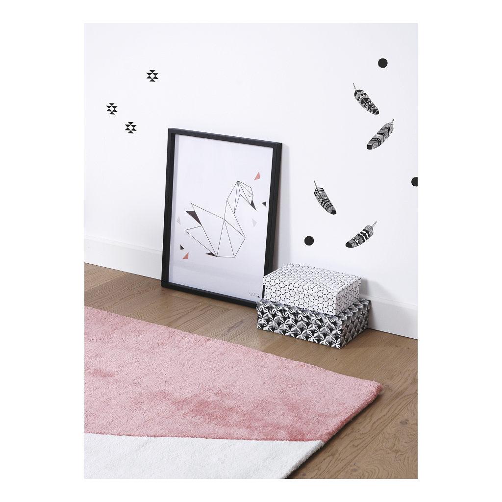 Feathers & Geometric Patterns Sticker 18X24Cm Origami Play Lilipinso Zwart Wit Lili-S1045