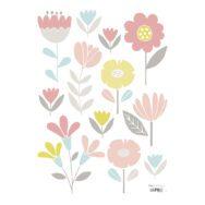 Flowers Muursticker A3 Sweet Bunnies Lilipinso Pastel Bloemen Tulp Roos Madelief Lelie Lili-S1019