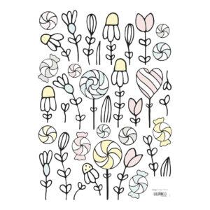 Flowers & Sweets Muursticker A3 | Retro Bubble | Lilipinso