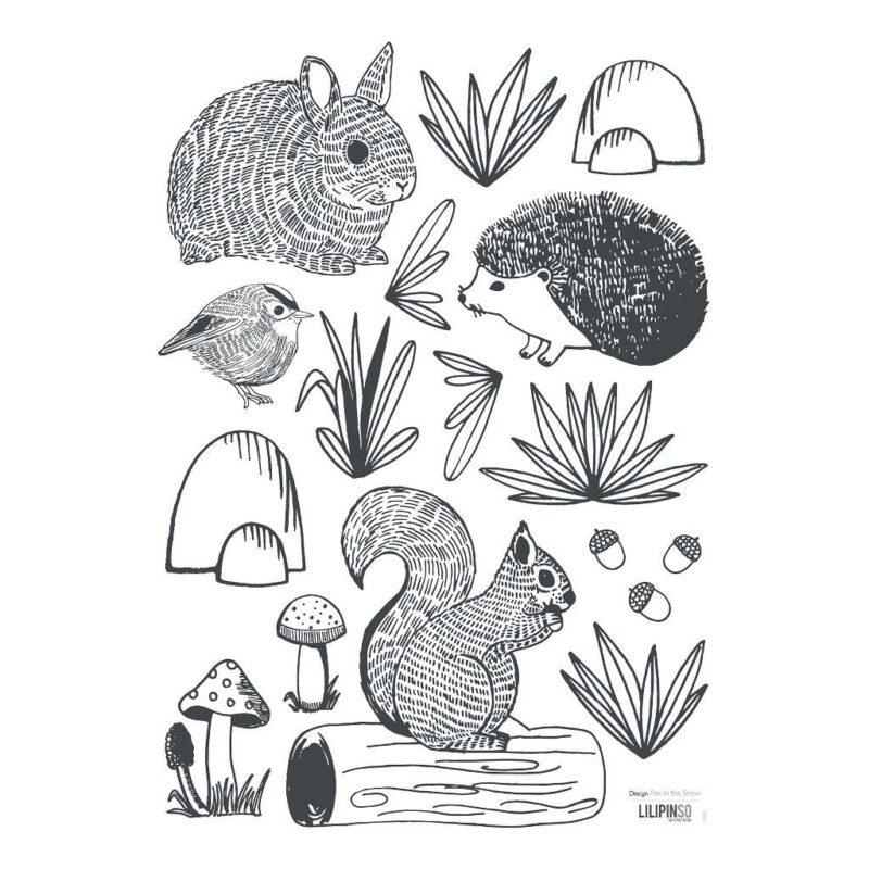 Forest Animals Muursticker A3   Enchanted   Lilipinso