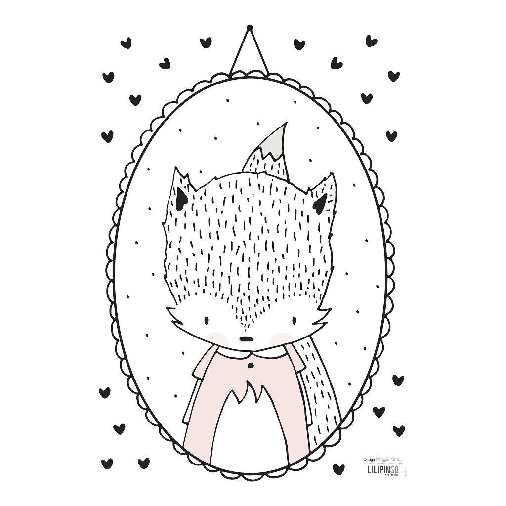 Fox Lady & Small Hearts Muursticker A3 | Retro Bubble | Lilipinso