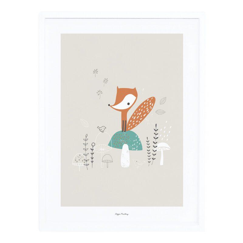 Fox & Mushrooms Poster Met Lijst Woodland Lilipinso lili-p0271