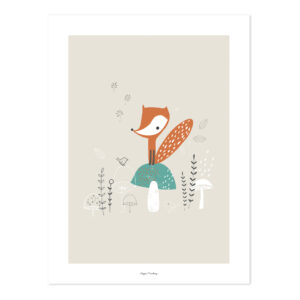 Fox & Mushrooms Poster | Woodland | Lilipinso