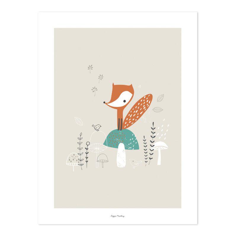 Fox & Mushrooms Poster | Woodland | Lilipinso