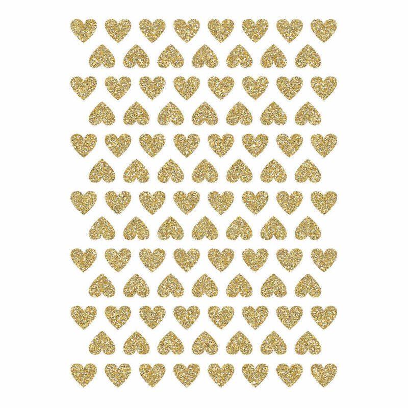 Golden Hearts Material Glitter Sticker 18X24Cm   Hello Little   Lilipinso