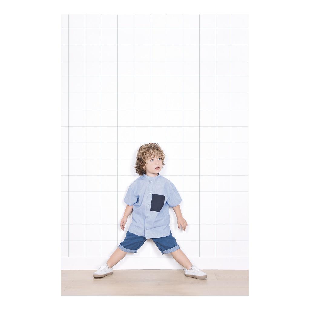 Grid White On Blue 8Cm Behang | Millimétré | Lilipinso