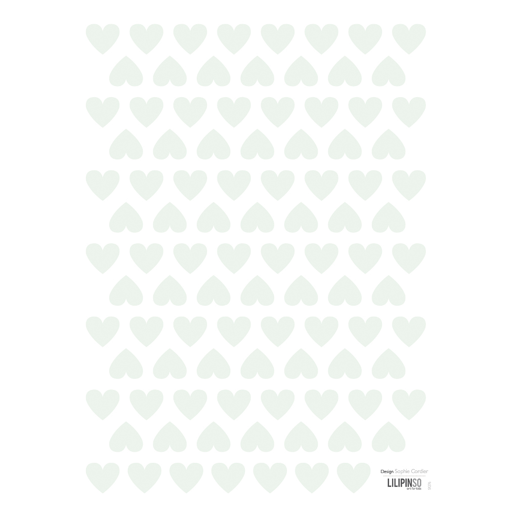 Hearts Green Sticker 18X24Cm | Hello Little | Lilipinso