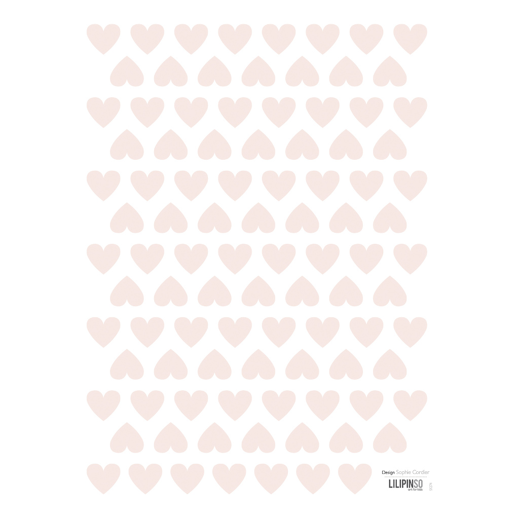 Hearts Pink Sticker 18X24Cm | Hello Little | Lilipinso
