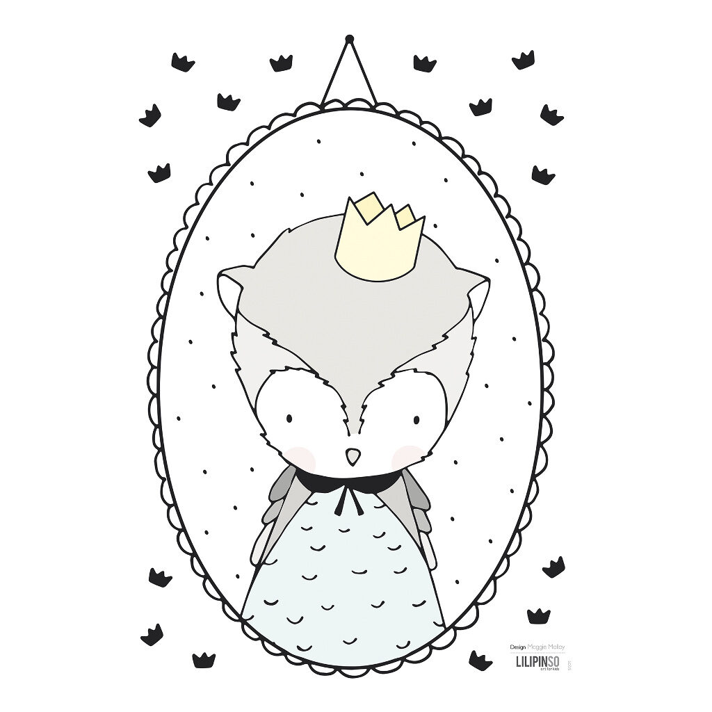 Howl & Small Crowns Muursticker A3 | Retro Bubble | Lilipinso