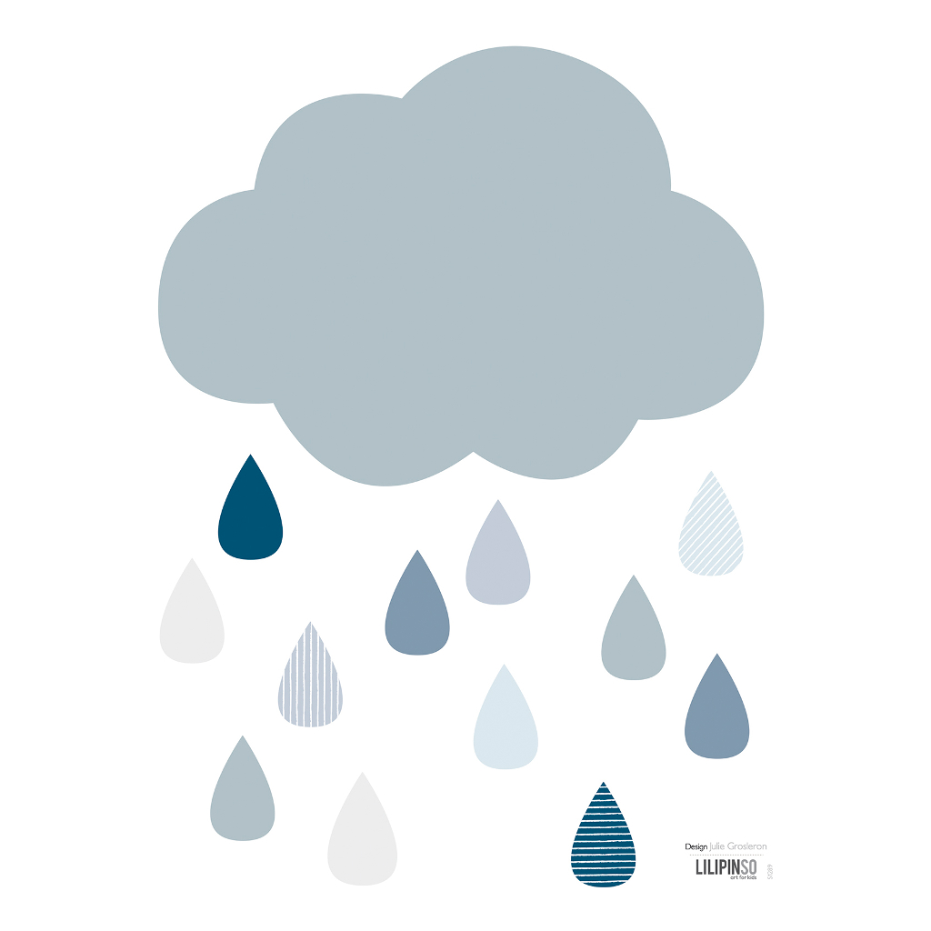 It'S Raining Sticker 18X24Cm Wild Islands Lilipinso Wolk Regen Blauw lili-s1289