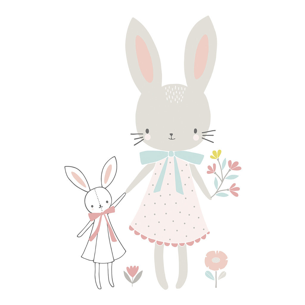 Little Miss Rabbit Sticker Xl Sweet Bunnies Lilipinso Wolkje Donker Blauw Lili-S1022