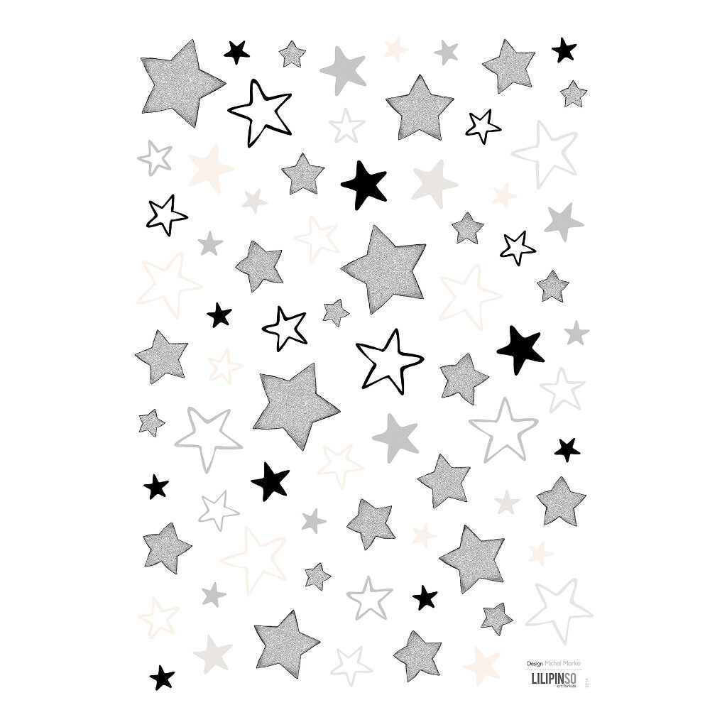 Mix Of Black White Gold Stars Muursticker A3 Dreamy Lilipinso Sterren Zilver Zwart Wit Lili-S1154