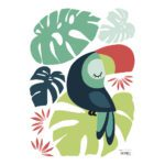 Monstera & Toucan Muursticker A3 | Tropica | Lilipinso