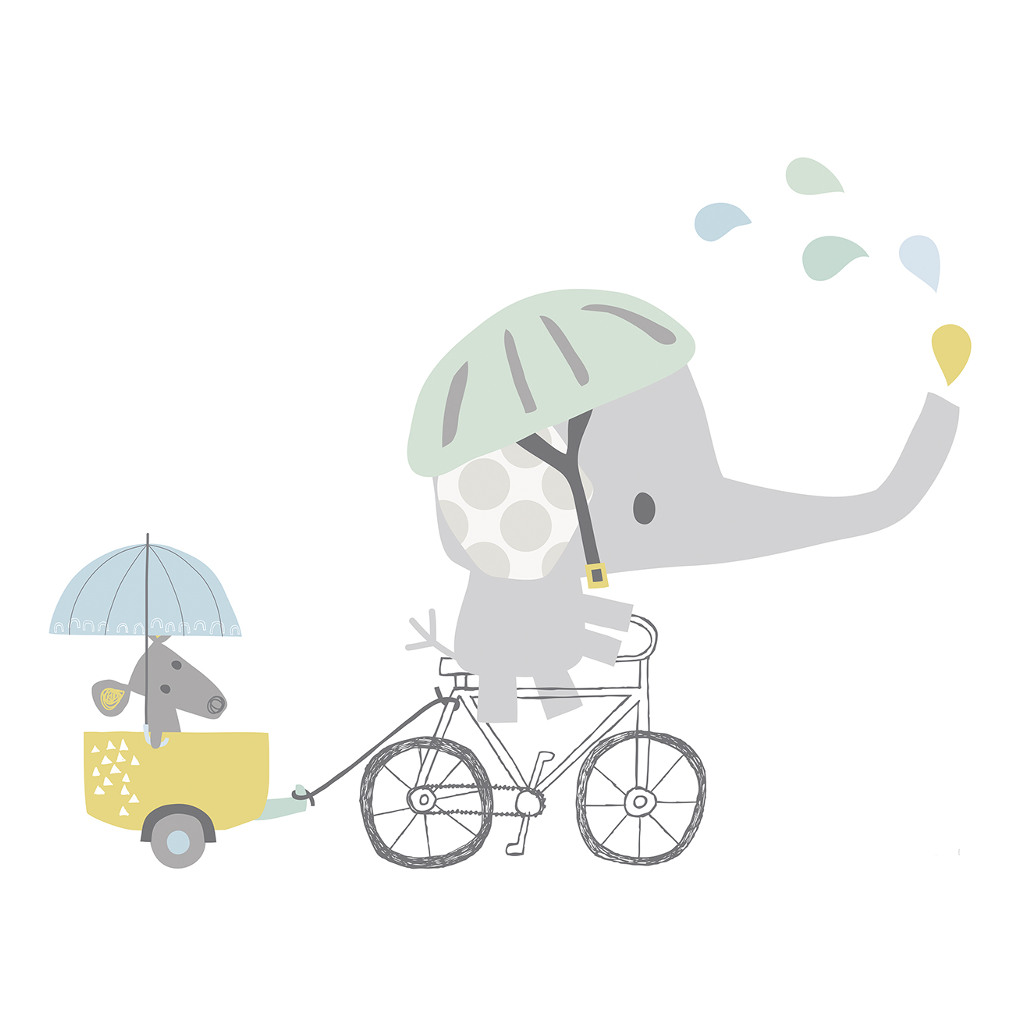 On A Bike Sticker Xl Smile, It'S Raining Lilipinso Olifant Fiets Muis Kar Lili-S1064