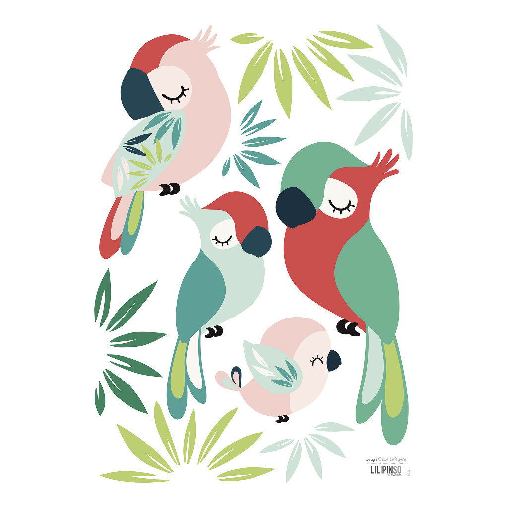 Parrots Muursticker A3   Tropica   Lilipinso