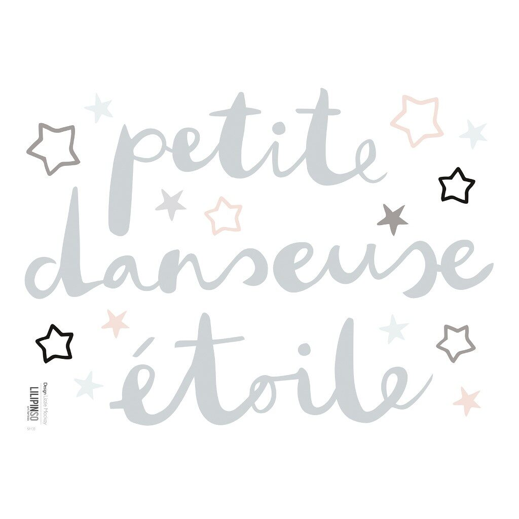 Petite Danseuse Etoile Sticker 18X24Cm Ballerina Lilipinso Grijs Roze Ster Decoratie Lili-S1133
