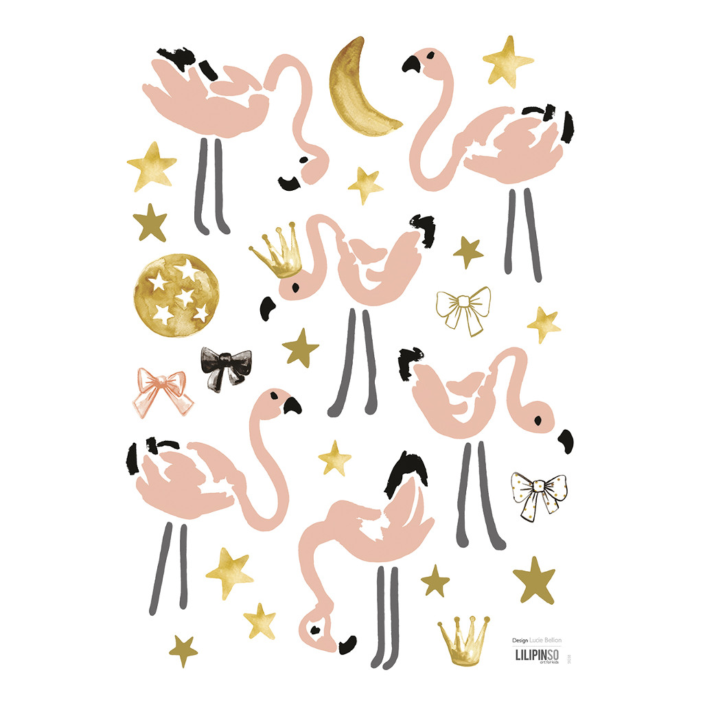 Pink Flamingos Muursticker A3 Lilipinso Glamour Steren Vogels Roze Lili-S1038