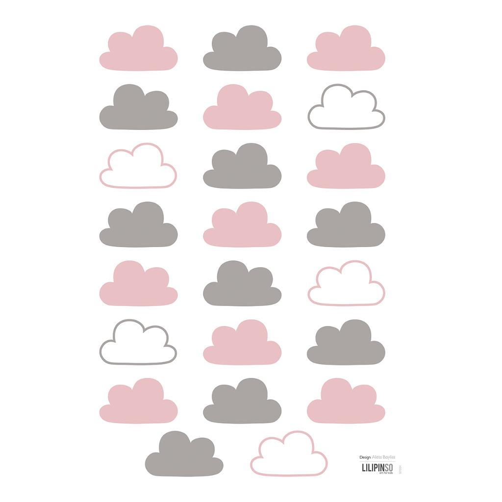Pink & Grey Clouds Muursticker A3 Happy Clouds Lilipinso Wit Roze Grijs Wolk Sticker Lili-S1004