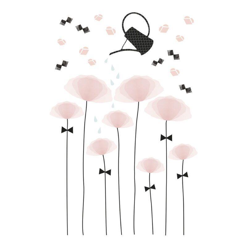 Poppy Sticker Xl Lilipinso Bloemen Water Gieter Roze Zwart Lili-S1129