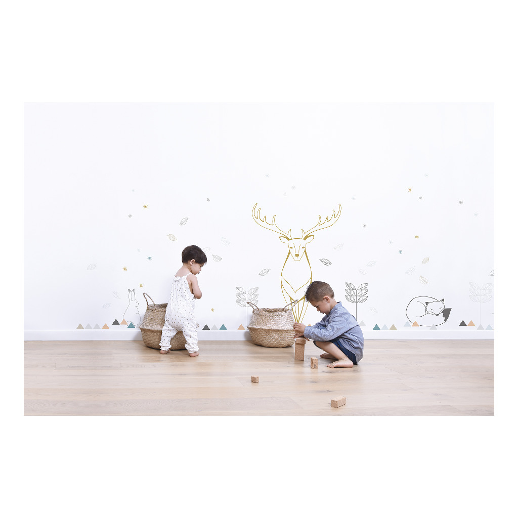 Rabbit & Blue Flakes Muursticker A3 Nordic Lilipinso Decoratie Muur Kinderkamer Lili-S1148