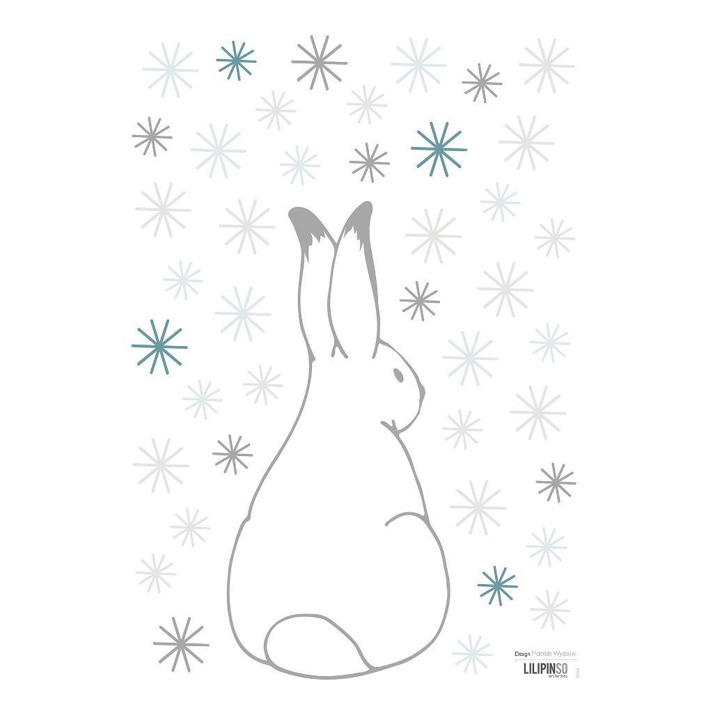 Rabbit & Blue Flakes Muursticker A3 Nordic Lilipinso Rug Konijn Neutraal Sneeuw Vlokken Lili-S1148