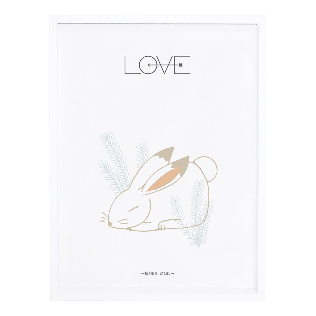 Rabbit Love Poster Nordic Lilipinso Met Lijst Wit QIDDIE.com lili-P0209C