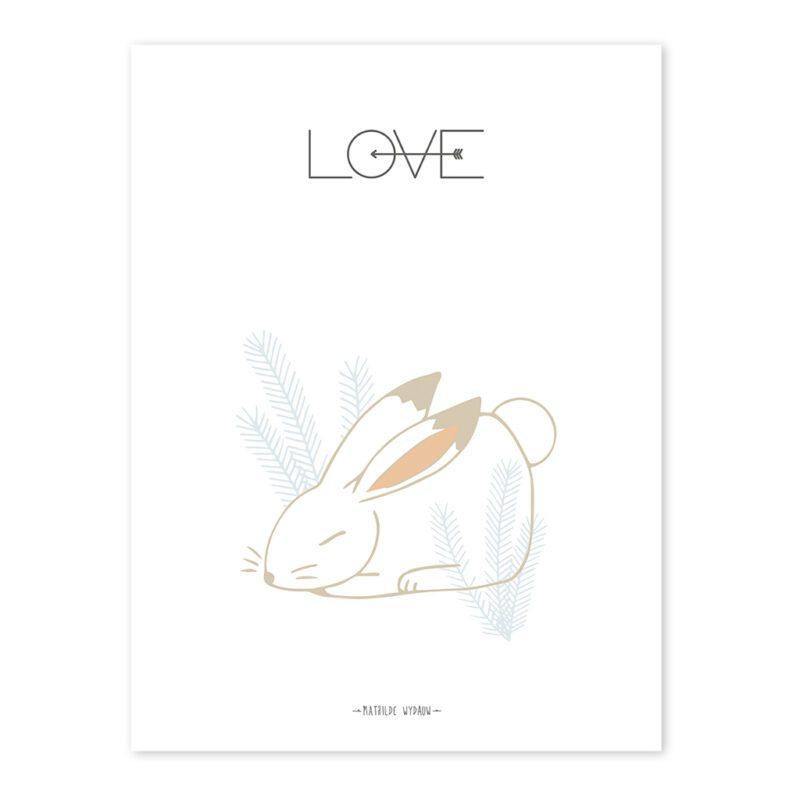 Rabbit Love Poster Nordic Lilipinso Zonder Lijst QIDDIE.com lili-P0209-zl
