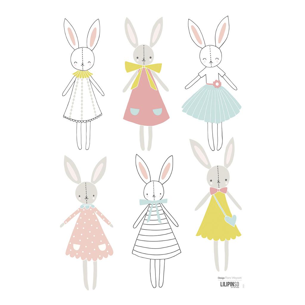 Rabbits Girl Muursticker A3 Sweet Bunnies Lilipinso Jurkjes Ballarina Lili-S1021