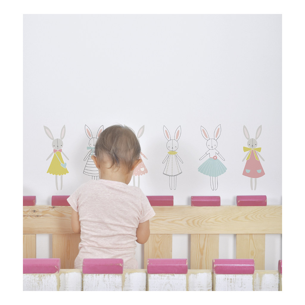 Rabbits Girl Muursticker A3 Sweet Bunnies Lilipinso Konijn Lili-S1021