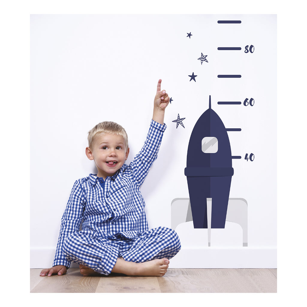 Rocket Groeimeter Sticker Fly Me To The Moon Lilipinso Space Meter Zwart Wit Lili-S1194