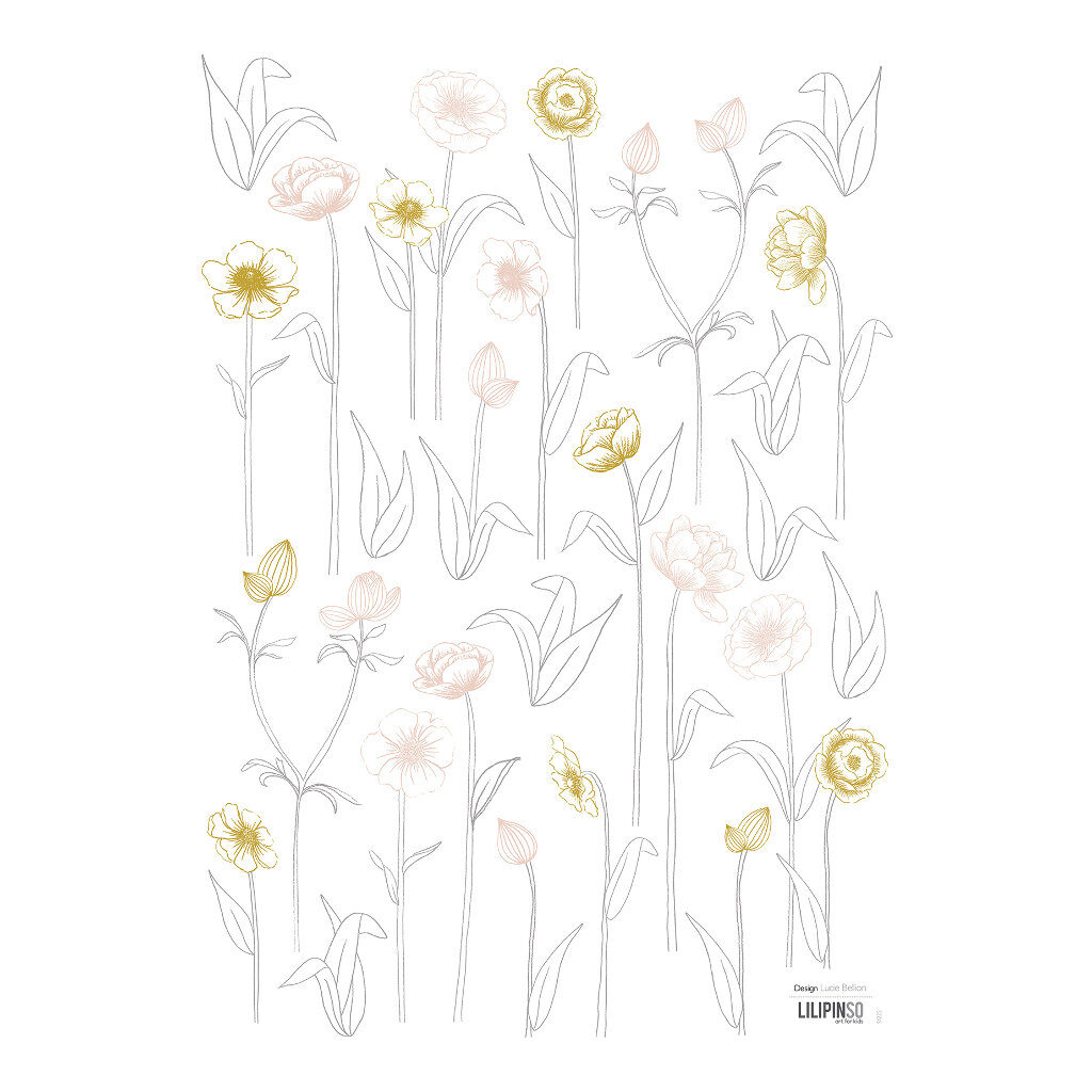 Small Flowers On Stems Muursticker A3 | Botany | Lilipinso