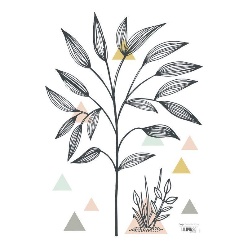 Small Tree & Triangles Muursticker A3   Enchanted   Lilipinso