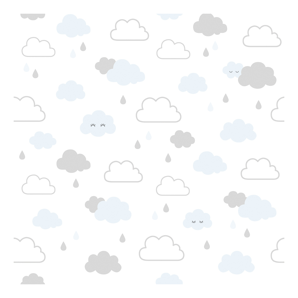 Smiley Clouds Grey & Blue Behang | Hello Little | Lilipinso
