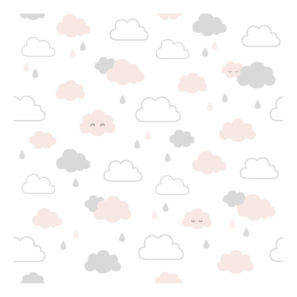 Smiley Clouds Grey & Pink Behang | Hello Little | Lilipinso