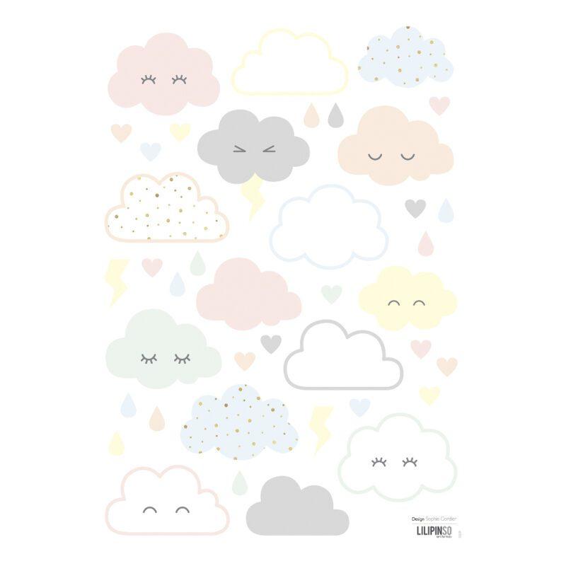 Smiley Clouds Muursticker A3 | Hello Little | Lilipinso