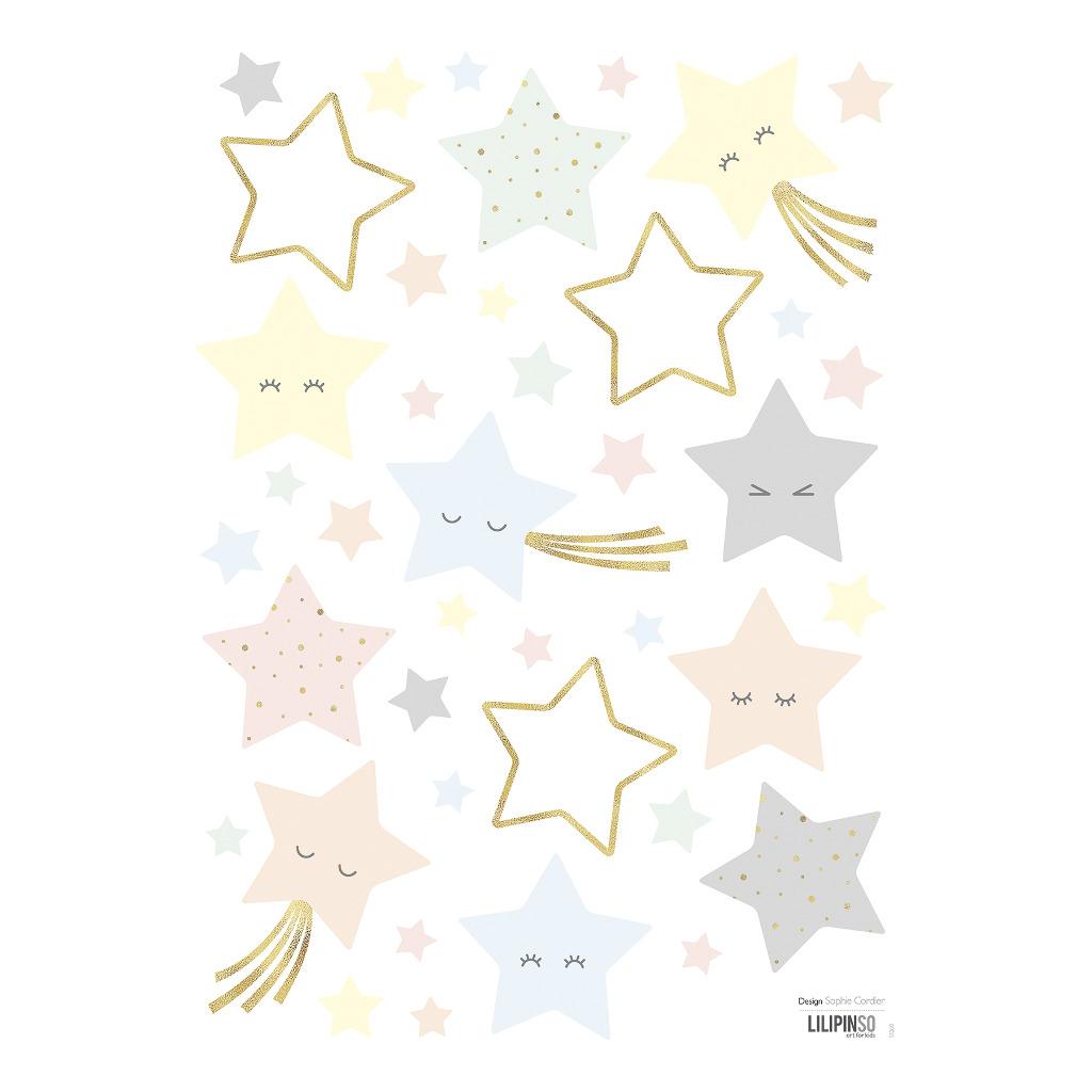 Smiley Stars Muursticker A3 | Hello Little | Lilipinso