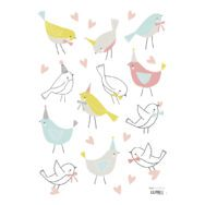 Sparrows Muursticker A3 Sweet Bunnies Lilipinso Pastel Vogels Blauw Roze Geel Neutraal Lili-S1018
