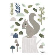 Squirrel Muursticker A3 Into The Woods Lilipinso Eekhoorn Boom Blaadjes Paddenstoel Bos Lili-S1140