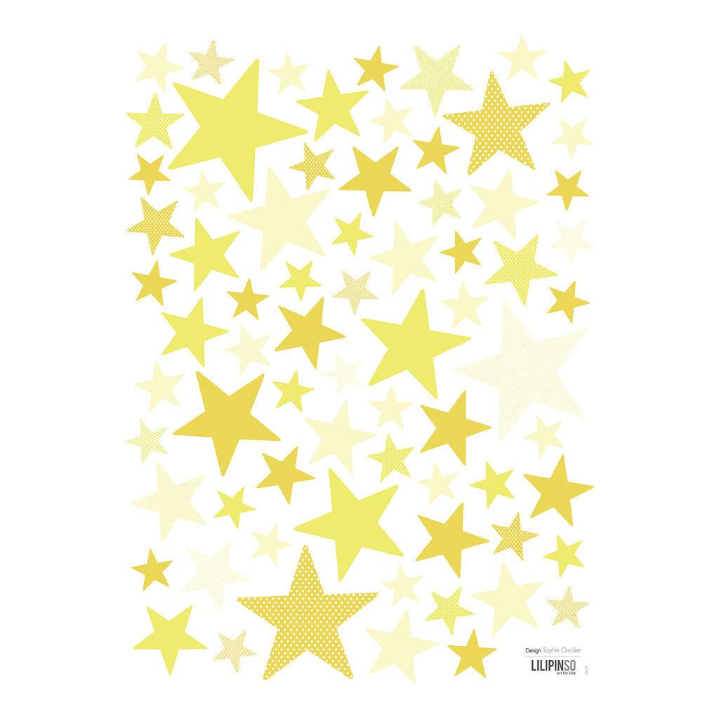 Sunshine Muursticker A3 My Superstar Lilipinso Sterren Groot Klein Geel Goud Lili-S1119