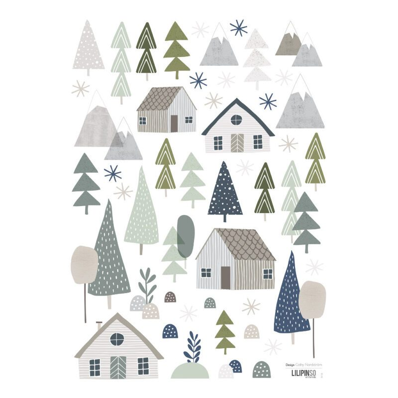 Trees & Cottages Muursticker A3 Into The Woods Lilipinso Huis Dorp Groen Blauw Grijs Lili-S1138