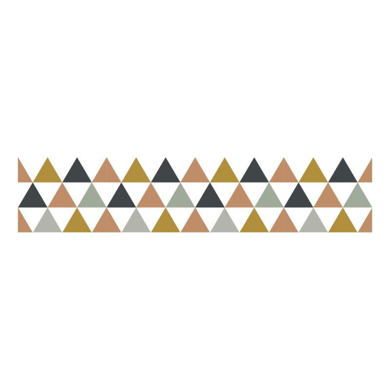 Triangles Blue Grey Beige Behangrand   Enchanted   Lilipinso